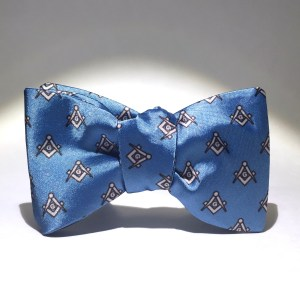 Blue Satin Master Mason Bow Tie - Tied