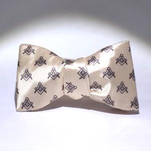 Ivory Satin Master Mason Bow Tie - Tied