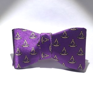 Purple Satin District Deputy Grand Master Bow Tie - Tied