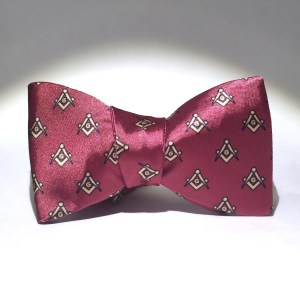 Red Satin Master Mason Bow Tie - Tied