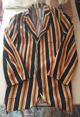 Photo of Vogue 8719 Jacket with Sleeves basted in place, Facings and Upper Collar Attached