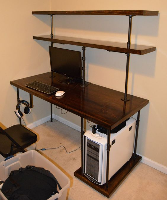 DIY Pipe Computer Desk