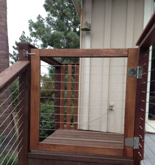 Deck Gate with Cable Railing