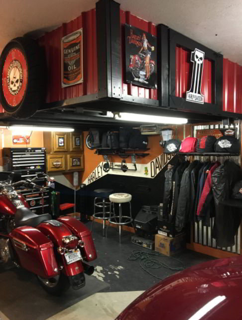 Red and Black Motorcycle Garage