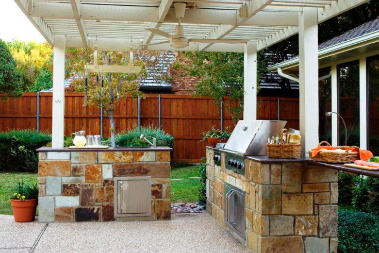 Rustic outdoor grill patio
