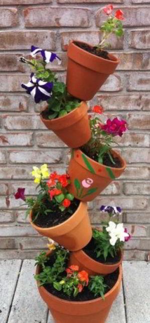 Staggered Terracotta Flower Pot