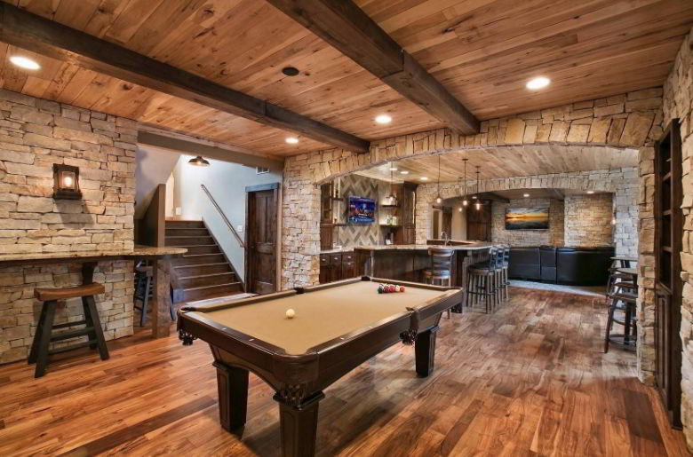 Rustic Basement with Low Ceiling