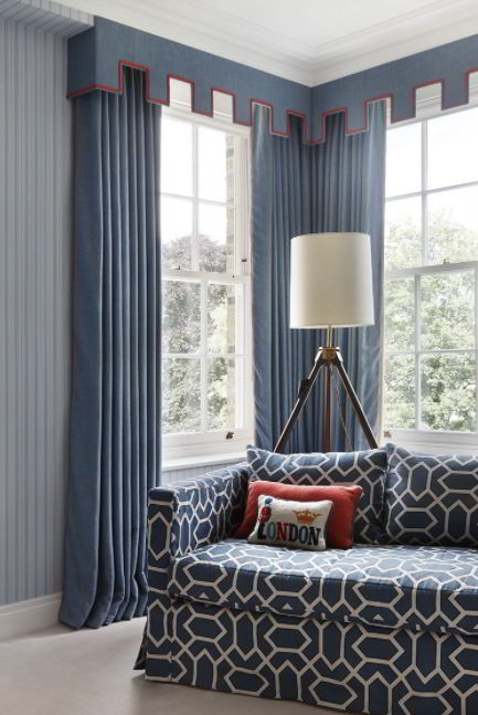 Navy Drapes with Cornices