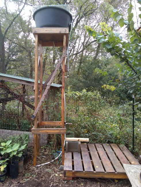 Outdoor Shower with Repurposed Materials