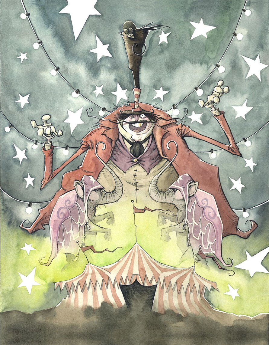 greatest show on earth gris grimly circus spider creature carnival ring leader barker clown