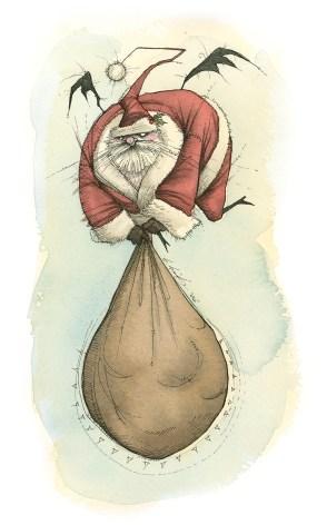 Santa bat halloween christmas gris grimly spooky nightmare goth