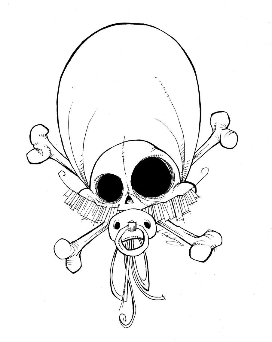 Baby Skull B&w