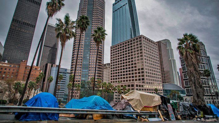 homeless tents la - There's federal money available to house the homeless. No one's taking it.
