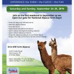 National Alpaca Farm Days at Grist Mill Farm in glenmoore PA