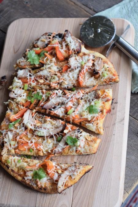Thai Chicken Grilled Pizza Sliced 1