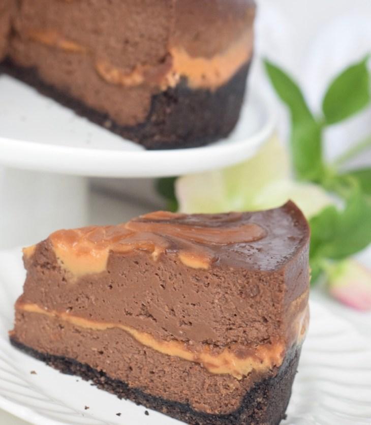 Chocolate Peanut Butter Swirl Cheesecake from GritsAndGouda.com