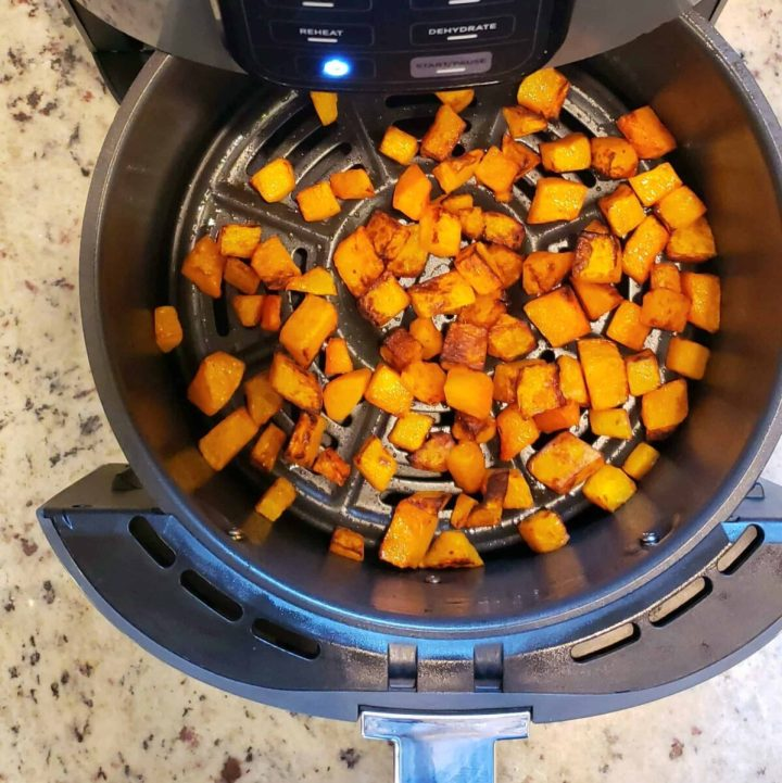 Roasted butternut squash cubes in the air fryer