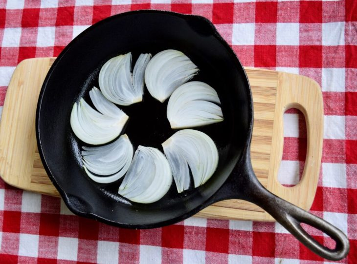 vidalia onion fans in bottom of cast iron skillet