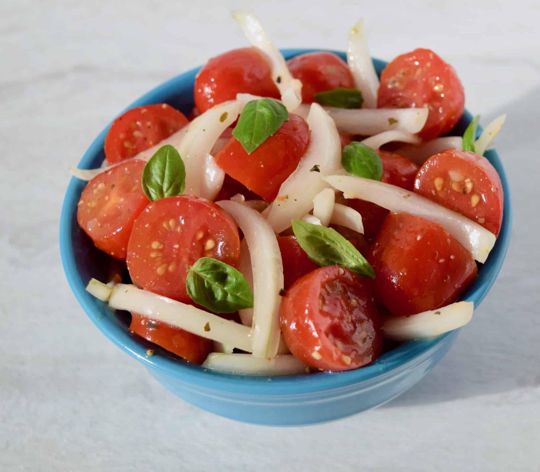 vidalia onions grape tomato basil salad