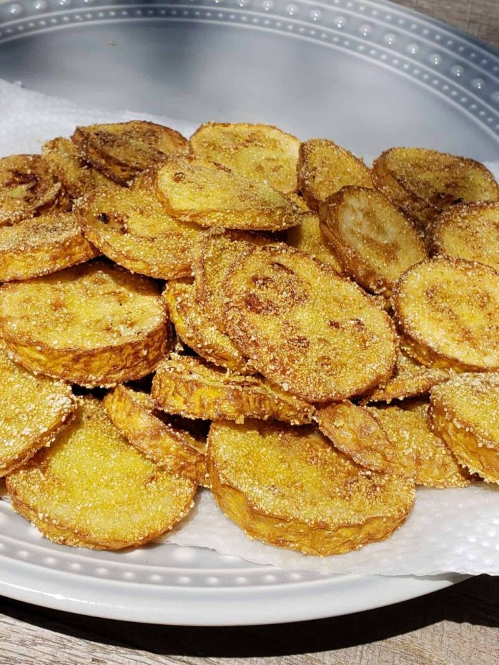 Fried Yellow Squash on a paper towel on a gray plate