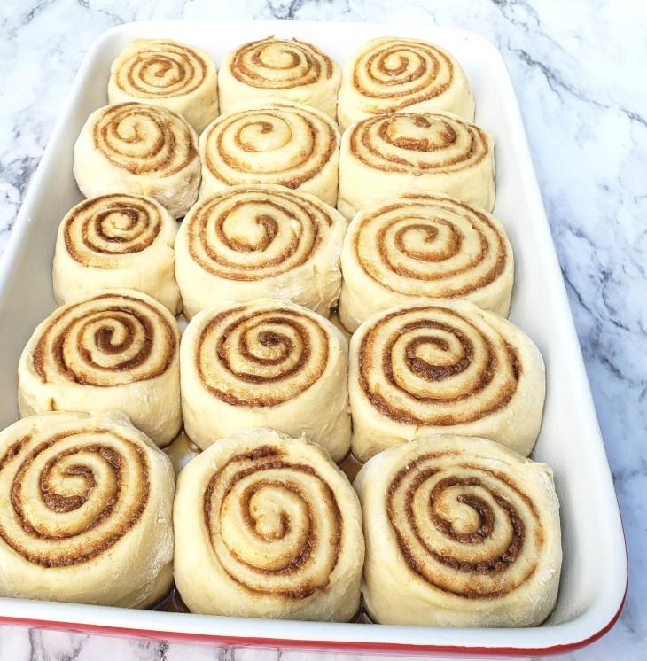 Cinnamon Rolls risen in baking dish