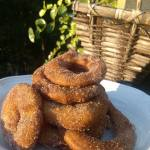 Fried Cinnamon Sugar Apple Rings coated in batter and deep fried