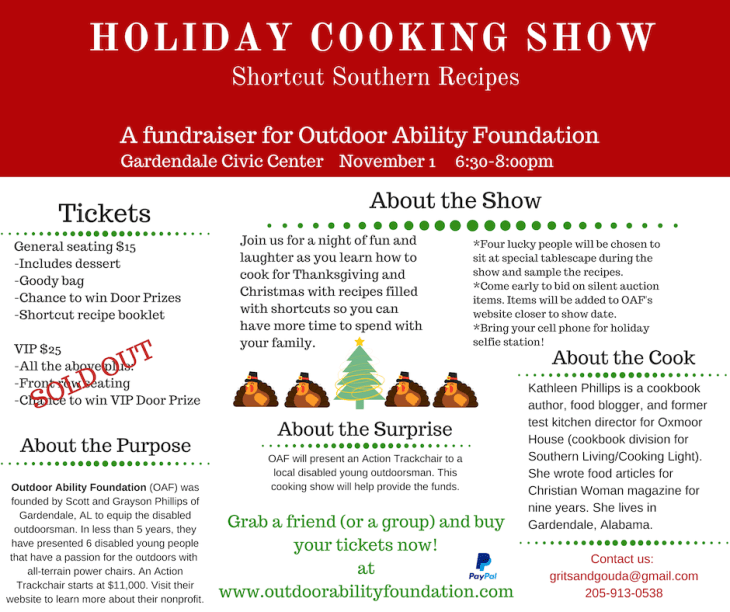flyer for holiday cooking show benefitting outdoor ability foundation presented by grits and gouda food blogger Kathleen Royal Phillips