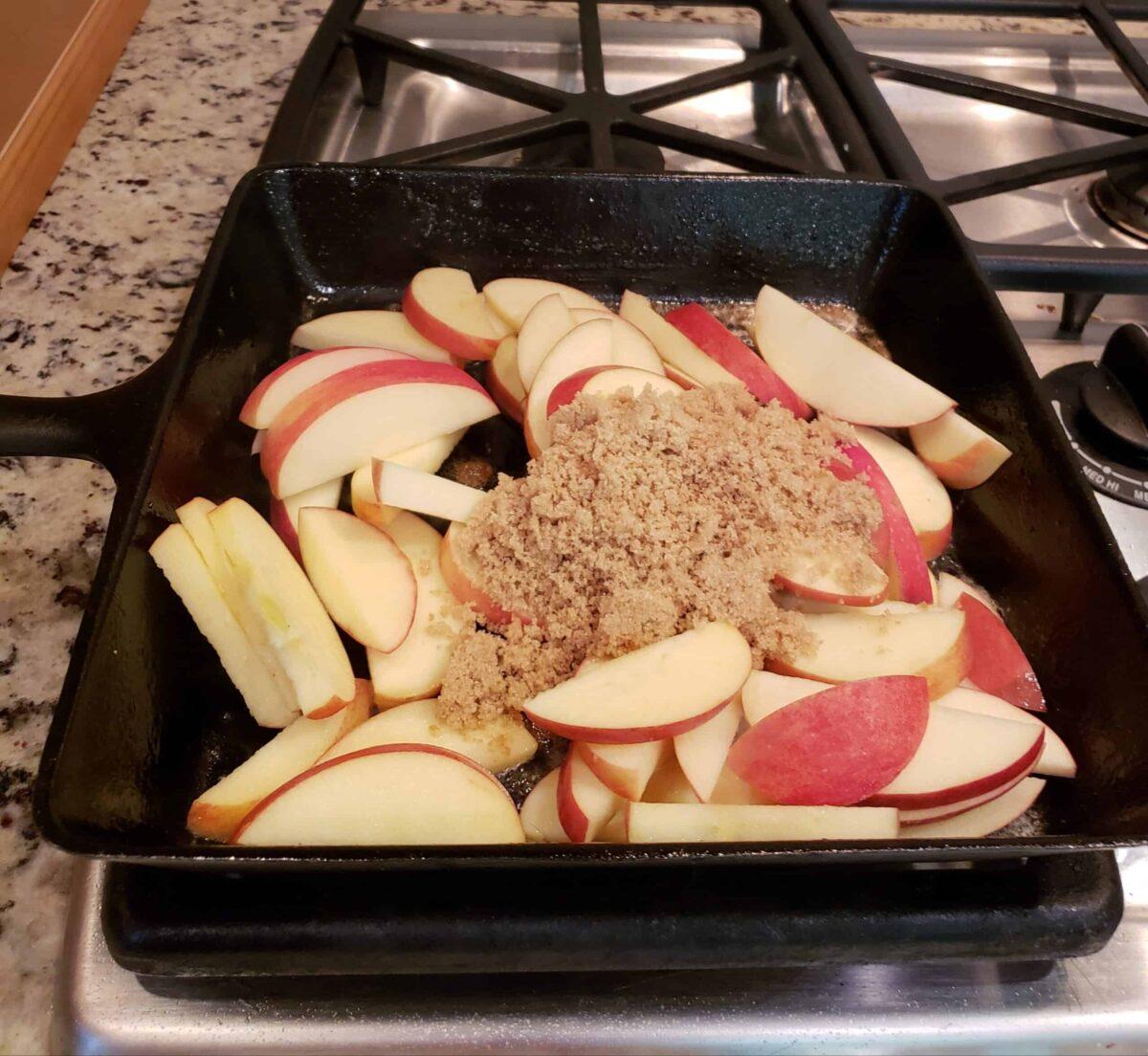 Fried Cinnamon Apples Sliced apples brown sugar cinnamon in skillet