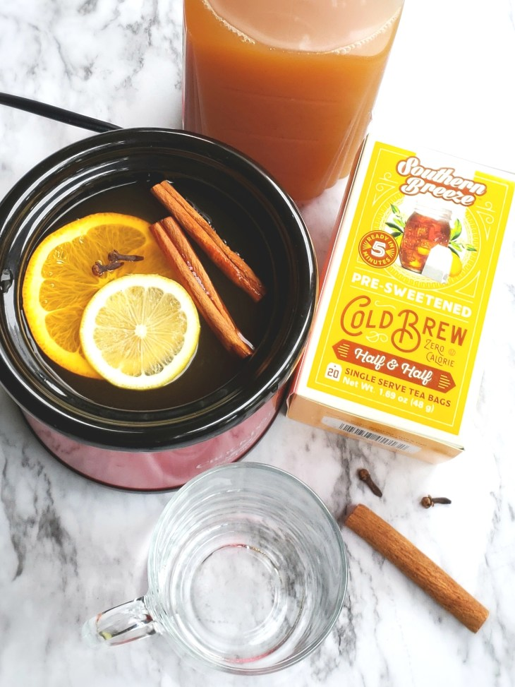 Steeping Southern Breeze Sweet Tea bags in slow cooker with mulling spices