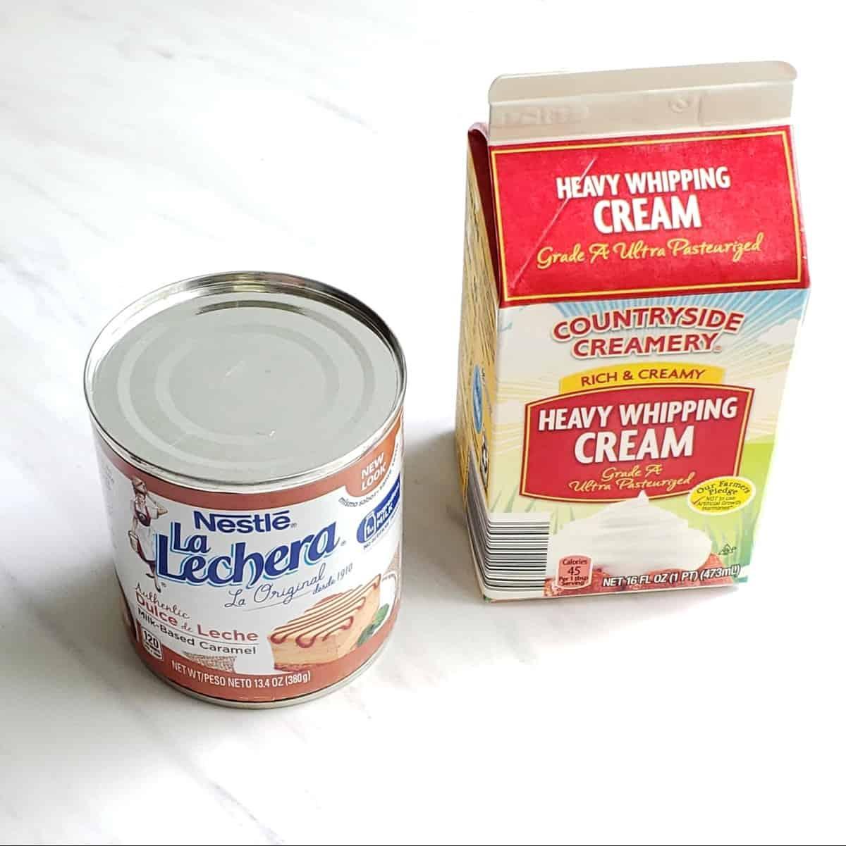 can of la Lechera dulce de leche and carton of whipping cream