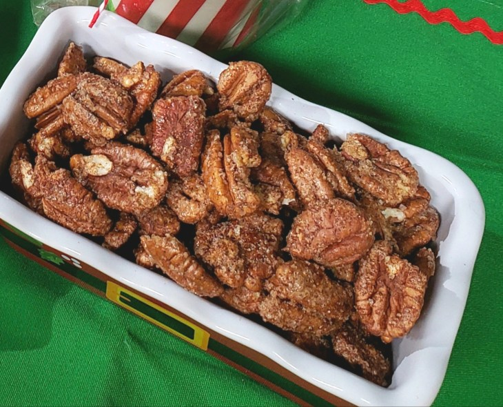 3 Ingredient Cinnamon Sugar Toasted Pecans ready for Christmas gifts