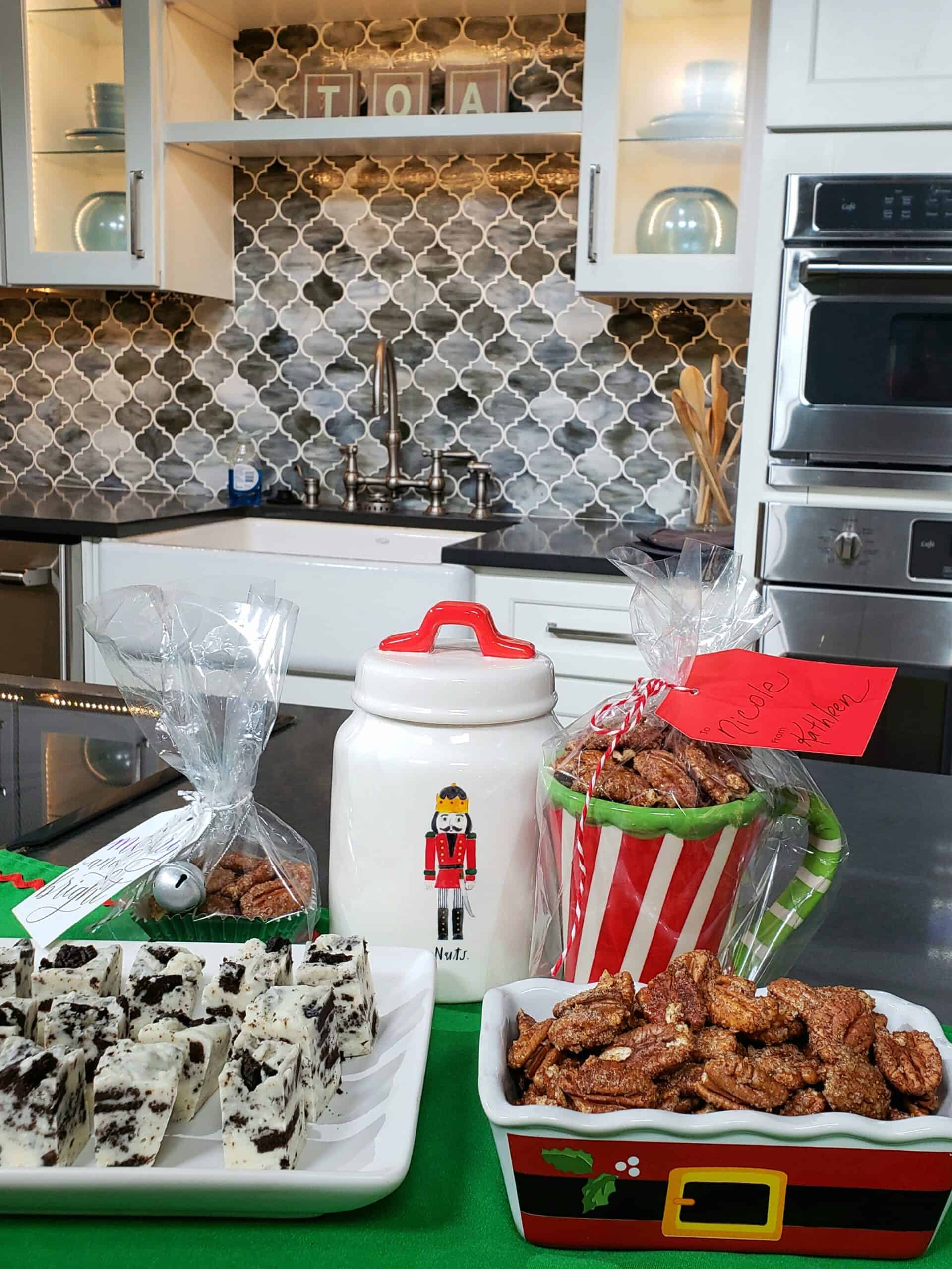 3 Ingredient Cinnamon Sugar Toasted Pecans ready and Cookies n Cream White Chocolate Fudge for Christmas gifting