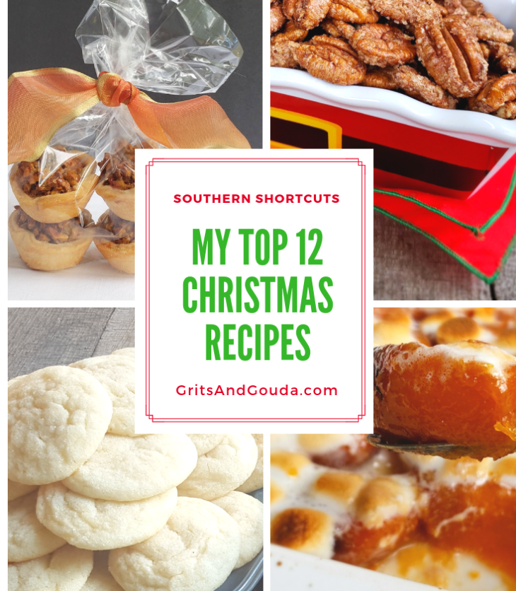 Grits and Gouda food blogger Kathleen Phillips Christmas Top 12 Recipe Roundup. Pictured are Maple Pecan Tassies, Sugardoodles, Roasted Candied Sweet Potatoes, Cinnamon Sugar Pecans