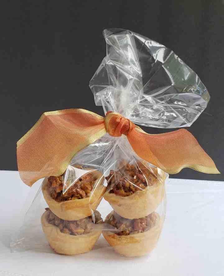 mini pecan pies in celophane gift bag