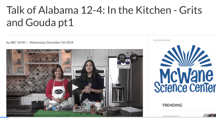 Talk of Alabama Christmas Food Gifts segment Part 1 with Kathleen Phillips, creator of the blog GritsandGouda.com and host Nicole Allshouse
