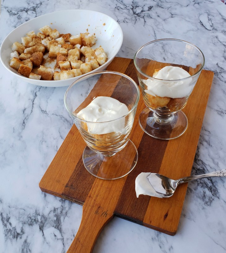 Layer half of the sweet tea soaked cake cubes in small dessert dishes, then half of the creamy mixture; repeat with remaining cake and creamy Neufchatel mixture