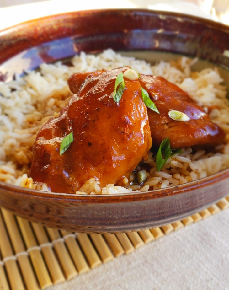Instant Pot Teriyaki Chicken Thighs over rice