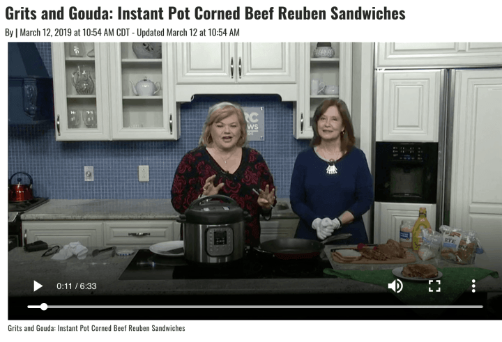 Grits and Gouda chef segment on WBRC Fox 6 Good Day Alabama Instant Pot Corned Beef Reuben sandwiches video