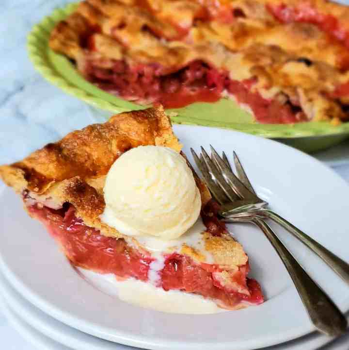 Strawberry Rhubarb Pie scoop of vanilla ice cream