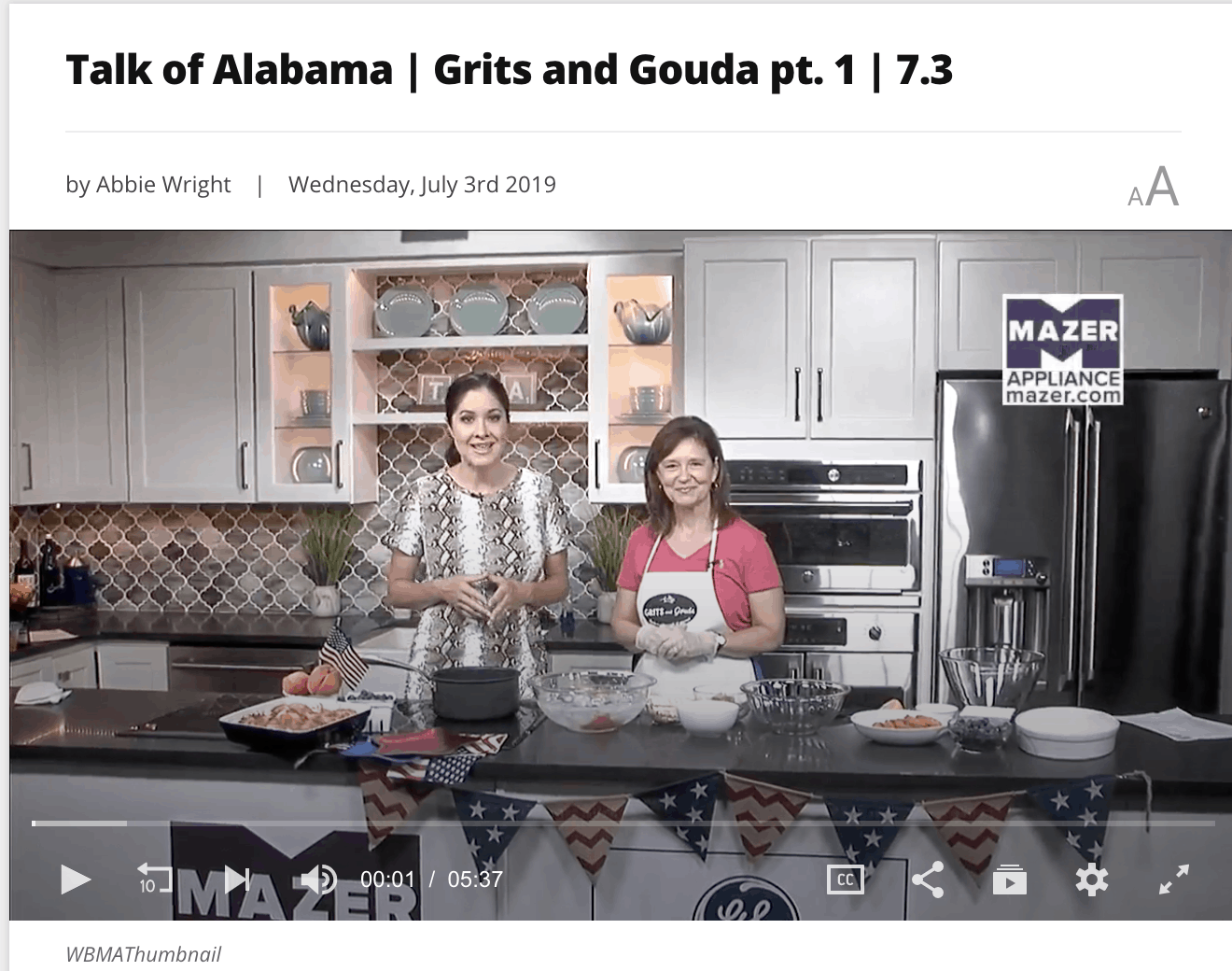 Picture of Kathleen Royal Phillips and Nicole Allshouse on Talk of Alabama making blueberry peach cobbler