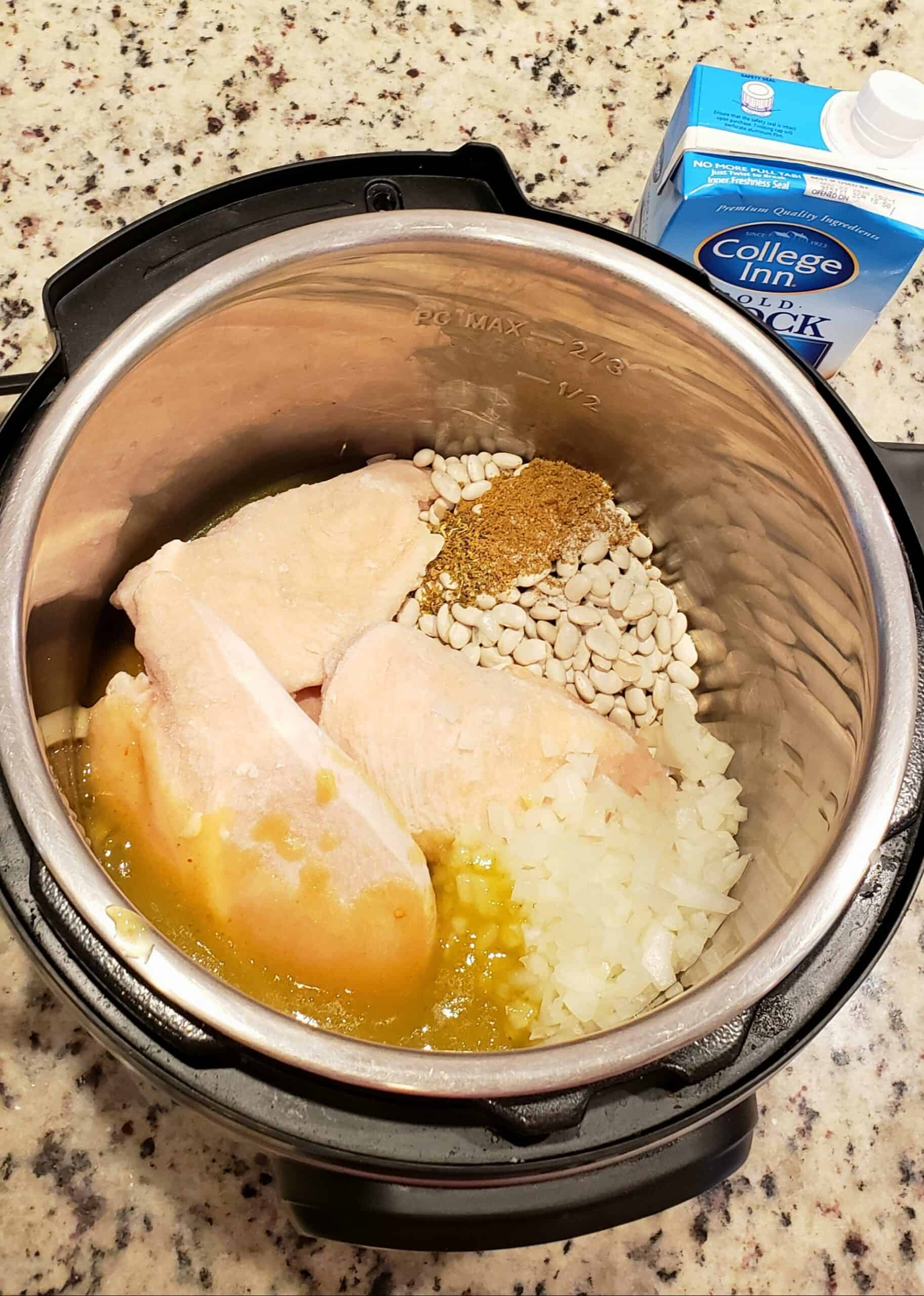All ingredients for Instant Pot White Bean and Chicken Chili before cooking
