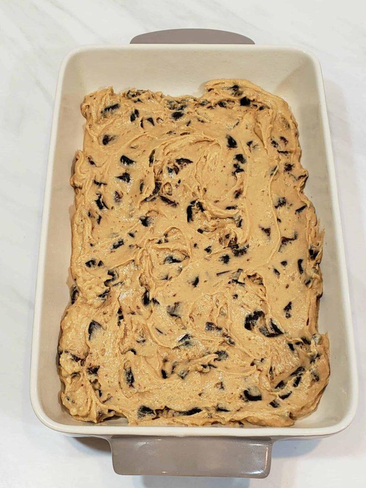 mission fig cake batter in baking dish
