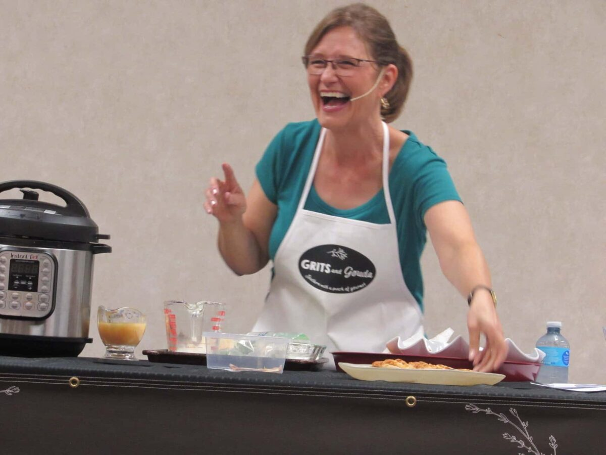 Kathleen Phillips cooking turkey breast in the Instant Pot at the first Holiday Cooking show