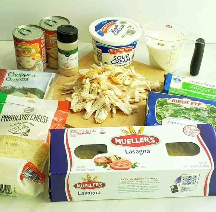 ingredients for chicken spinach lasagna