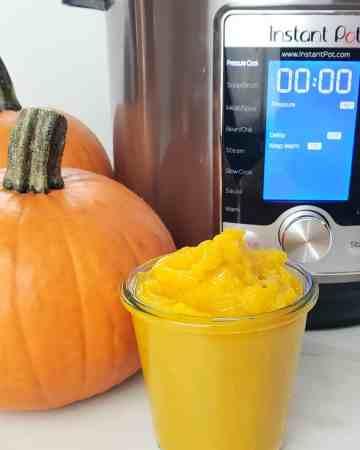 pumpkin beside an Instant Pot
