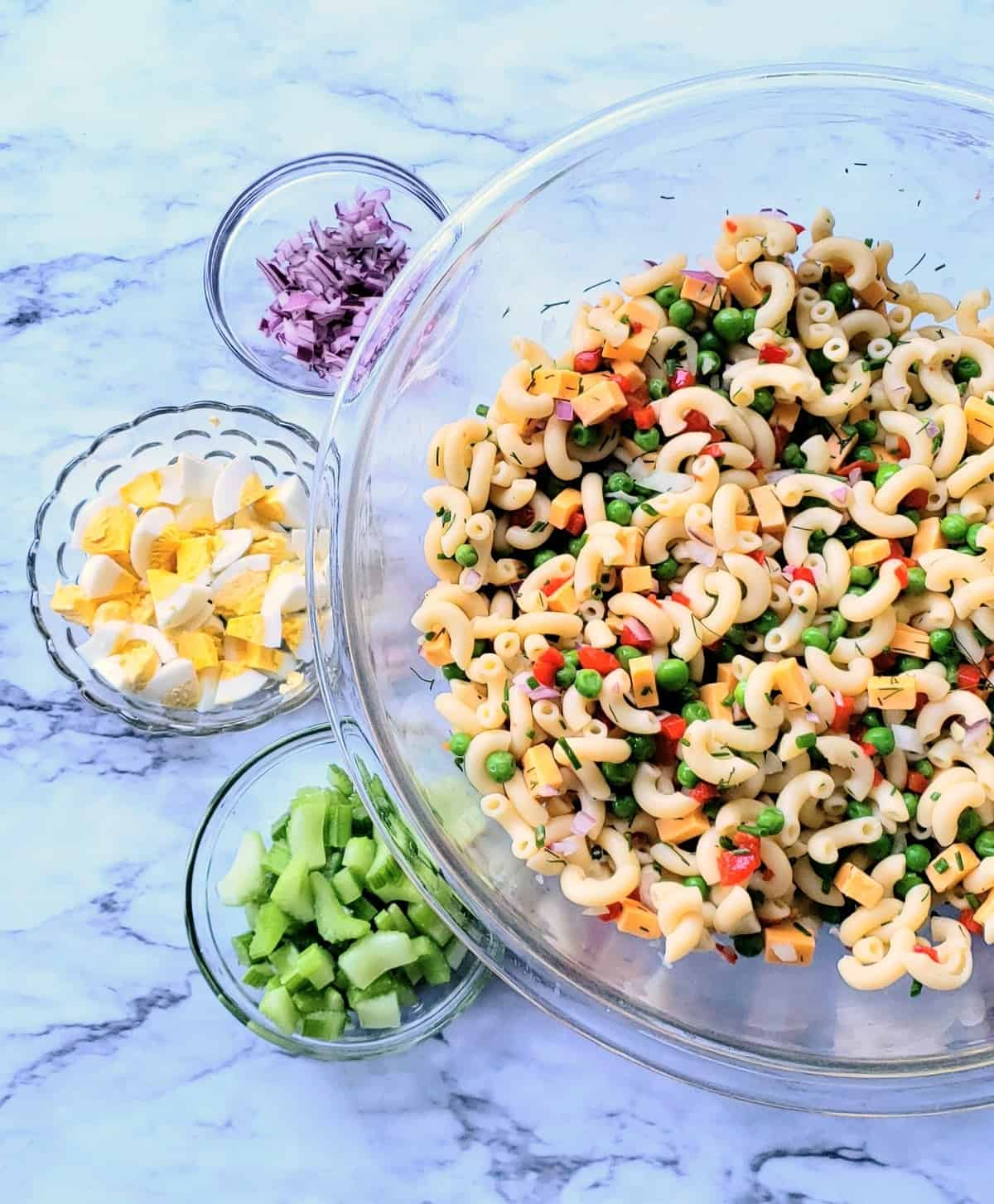 Ingredients for Macaroni Salad in little bowls