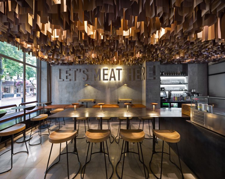 burger restaurant design Archives   Grits   Grids Shade Burger restaurant branding   interior design