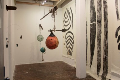 An example of how the sculptural installation and prints interact in the Grizzly Grizzly Gallery