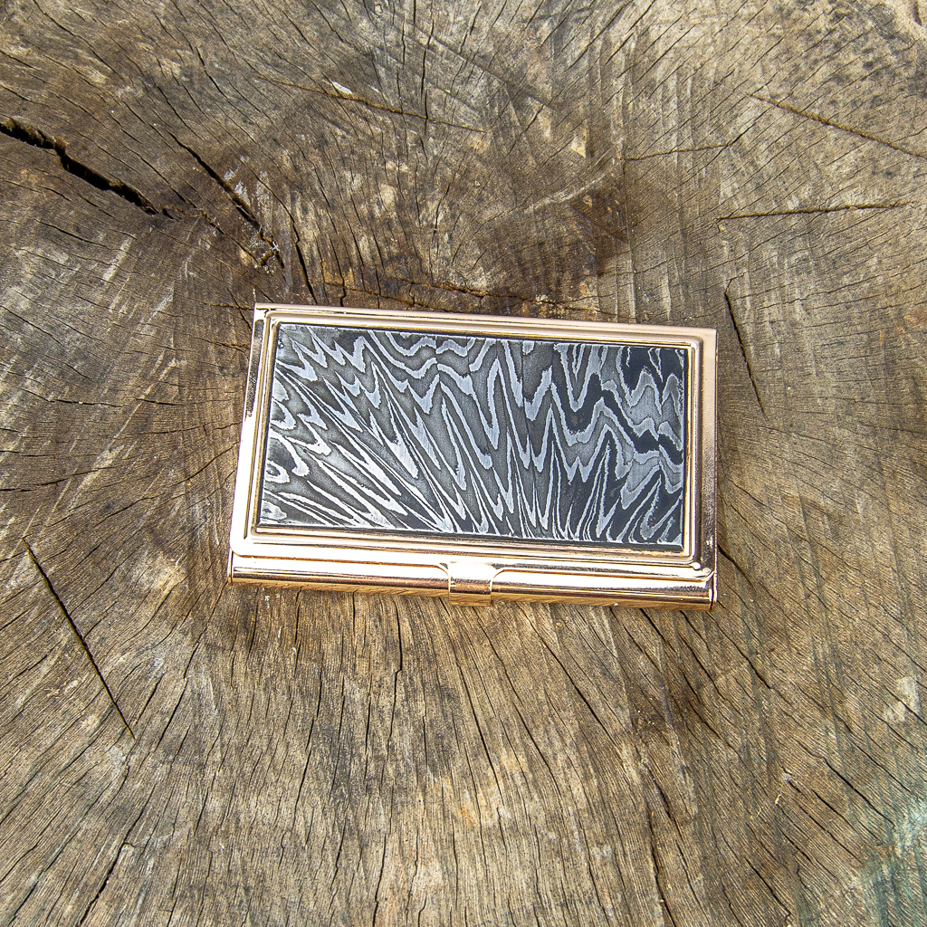 Damascus Business Card Holder - Crushed W Pattern - Grizzly Iron, Inc.