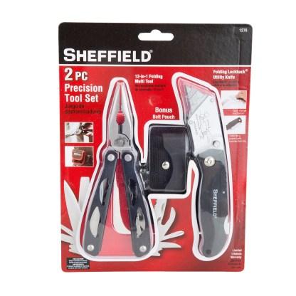 Sheffield 2 Pc Precision Tool Set 12-In-1 Folding Multi Tool Locking 1276